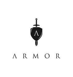 knight shield armor sword with initial letter vector image