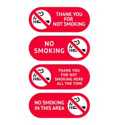 Labels set no smoking stickers vector