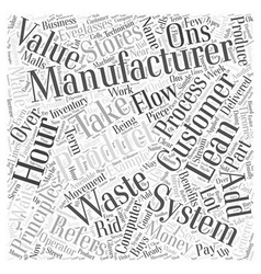 Lean manufacturing system word cloud concept vector