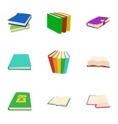 Library icons set cartoon style vector image
