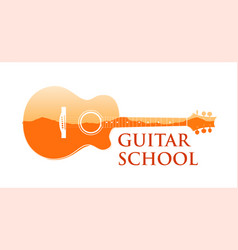 logo emblem for guitar music school vector image
