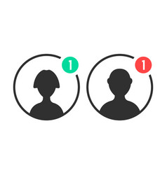 male and female user icons with notification vector image