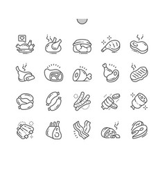 meat well-crafted pixel perfect thin line vector image