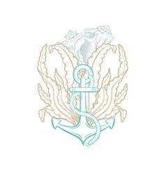 Ocean underwater marine anchor seashell line art vector