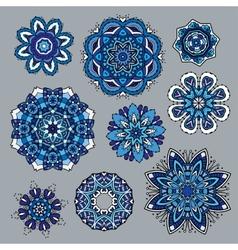 Ornamental snowflakes icon collection vector image
