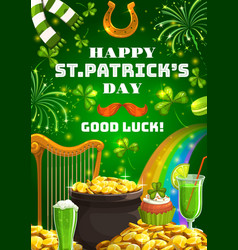 Patricks day irish symbols luck and fortune vector