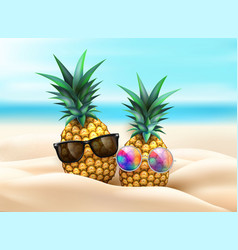 Pineapple in sunglasses at beach party vector