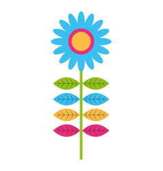 pink flower leave decoration natural icon vector image