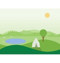 Seamless Cartoon Nature Landscape with Tents vector