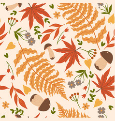 seamless pattern with autumn leaves and mushrooms vector image