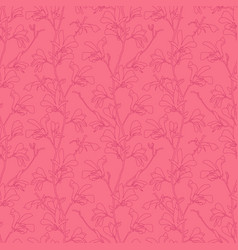 seamless pattern with magnolia tree blossom pink vector image
