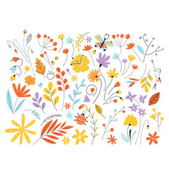 set flowers and leaves in a flat style isolated vector image