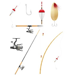 Set icons fishing equipment vector