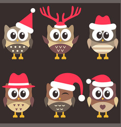 Set of cute brown owls with christmas hats vector