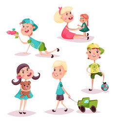 Set of isolated playing kids or children vector