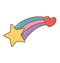 Shooting star and heart vector