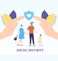 social security for a young family concept vector image