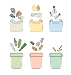 Sorting waste isolated objects vector