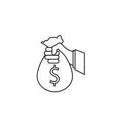 Sponsor investment line icon holding money bag vector