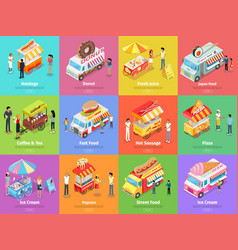 street food stores isometric banners vector image