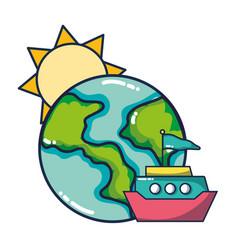 Sun and earth cartoon vector