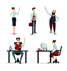Teachers set group of talking lecturer male vector