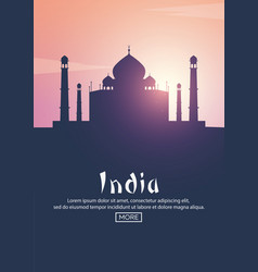 Travel poster to india landmarks silhouettes vector