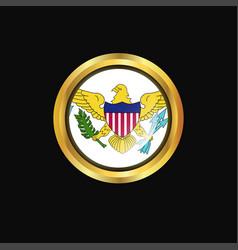 Virgin islands us flag golden button vector