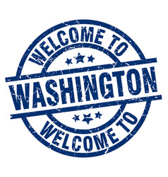 welcome to washington blue stamp vector image