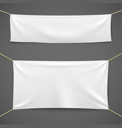white textile banners blank fabric flag hanging vector image