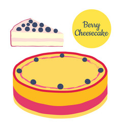 Whole and slice of berry cheesecake in flat style vector