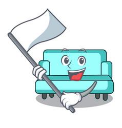 with flag sofa mascot cartoon style vector image