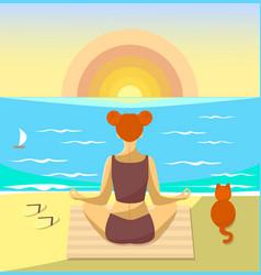 Woman meditating on a beach vector