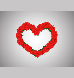 wreath of red roses in a heart shape on a light vector image