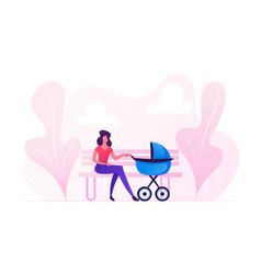 young woman sitting on bench with bastroller vector image