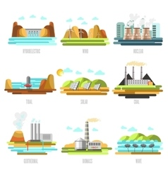Electricity generation plants and sources vector image