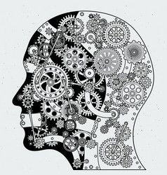 human head with clock mechanism and different vector image vector image