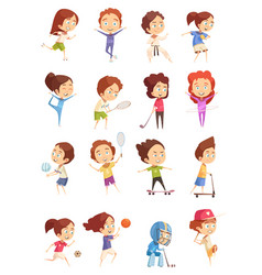kids sport decorative icons set vector image vector image