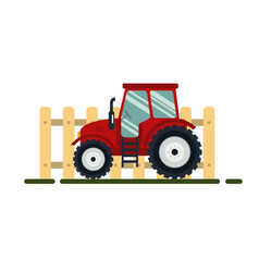 flat red tractor with fence on white background - vector image vector image
