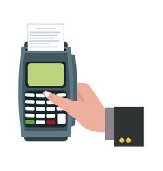 Hand touch finger dataphone online pay shopping vector