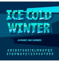 Ice letters and numbers vector image