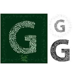 leaves alphabet letter g vector image