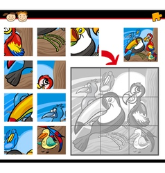 cartoon birds jigsaw puzzle game vector image