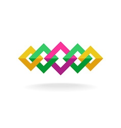 Colorful square frames links logo vector image vector image