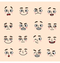 Facial mood expression icons set vector