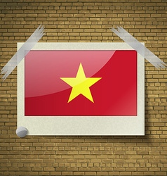 Flags Vietnamat frame on a brick background vector image vector image