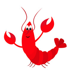 lobster with claw cute cartoon character funny vector image vector image