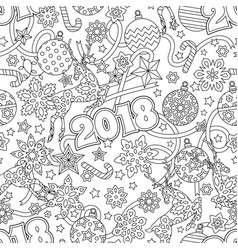 new year 2018 hand drawn outline festive seamless vector image vector image