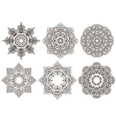 Set of 6 hand drawn oriental mandala vector image