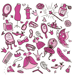 set of objects for girls vector image vector image